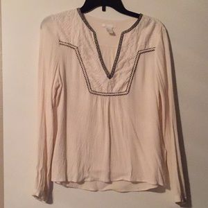 H&M Cream Colored Top with Detail